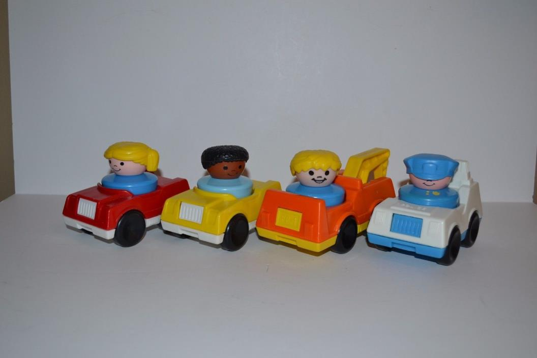 Vtg Little People Fisher Price with Cars including Police Car 1990