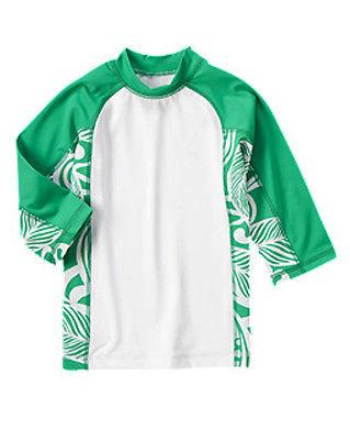 NWT Gymboree SWIM SHOP Tropical Green Boy Rashguard Green/White Sz: 7