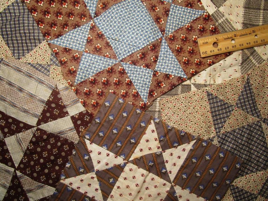 Antique Quilt Blocks 1800's calicos Hand sewn 6 pieces 8