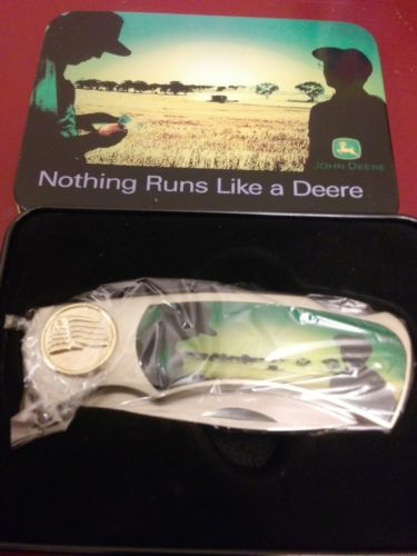 JOHN DEERE NICKEL FINISH FOLDING BUCK KNIFE WITH COLLECTOR TIN -- BRAND NEW --
