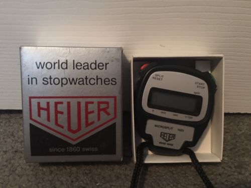 HEUER Swiss Made Microsplit 1020 Stopwatch Timer Vintage In Box Untested