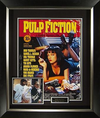 Pulp Fiction Cast Signed Movie Poster Display Framed John Travolta Harvey Keitel