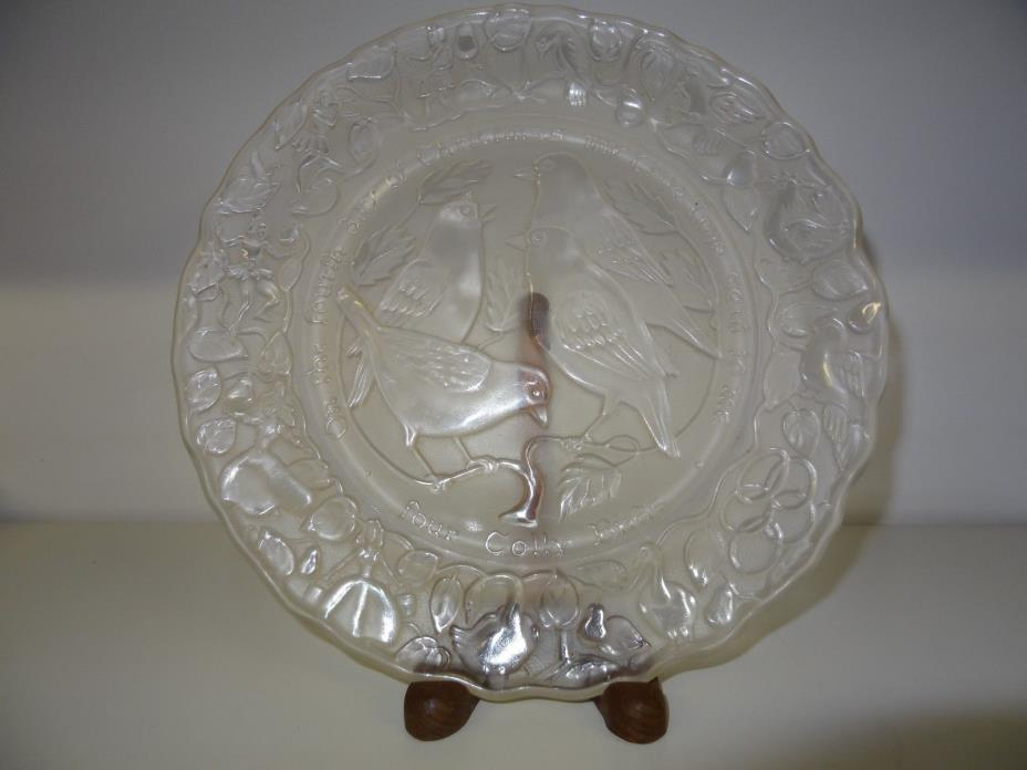 IMPERIAL GLASS CORPORATION 4TH DAY OF 12 DAYS OF CHRISTMAS FROSTED GLASS PLATE
