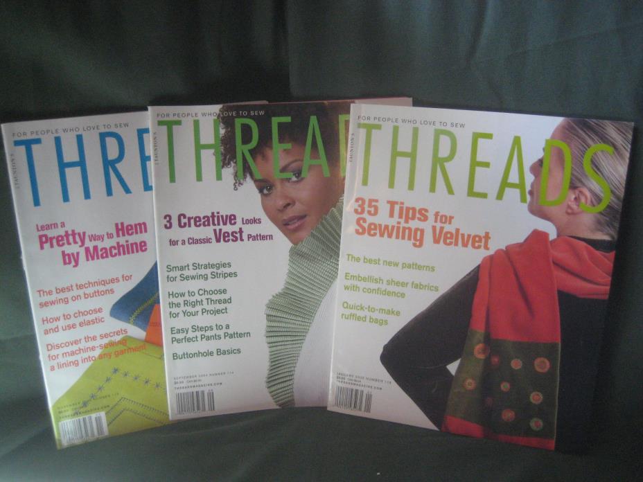 THREADS magazine vtg 2004/05 back issue LOT AC #114 115 116 sewing needlework