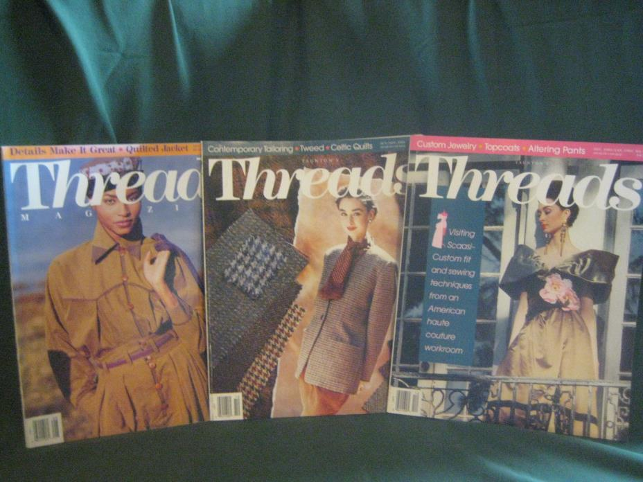 THREADS magazine vtg back issue LOT K 91/92 #36 37 38 couture sewing needlework