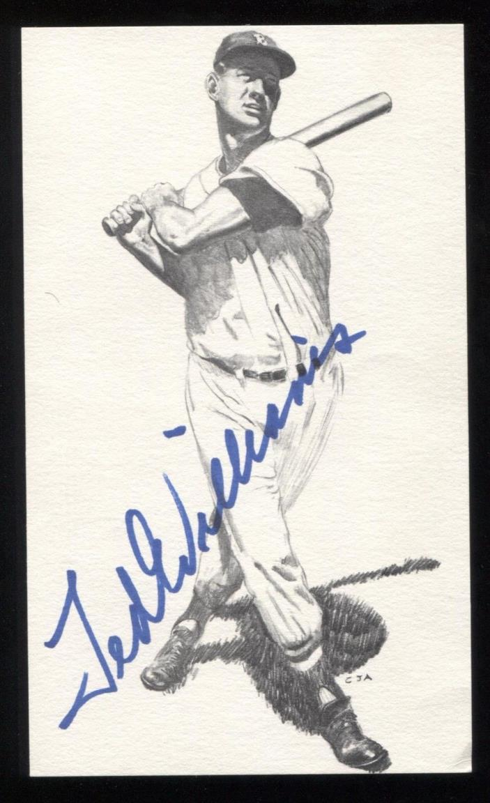 Ted Williams Vintage Signed Photo Post Card Autographed Hall of Fame Baseball