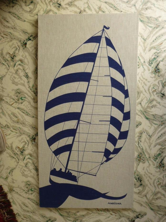 MARUSHKA  SAILBOAT VTG MID-CENTURY SILK SCREEN FABRIC ART PRINT