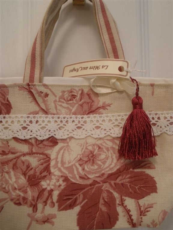 French Country Style Girls Tote in Vintage Linen Rose Fabric