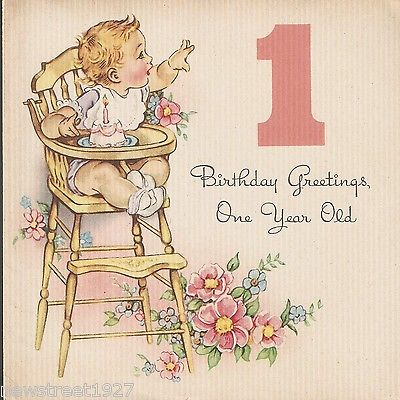 Vintage Birthday Card, Child in Wooden High Chair 1950's