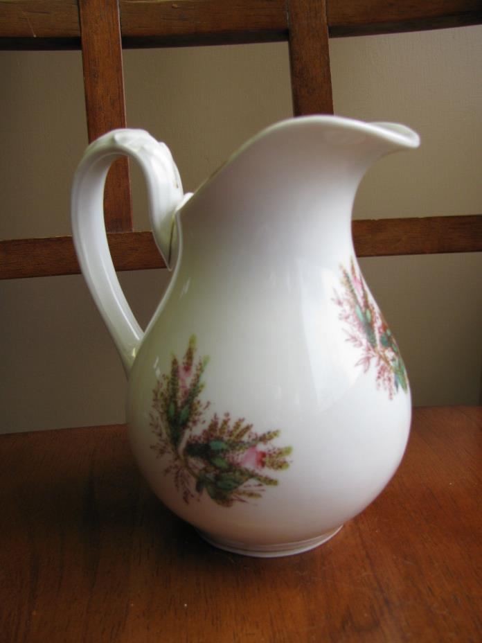 Antique  Moss Rose Creamer Pitcher Porcelain Ironstone 6