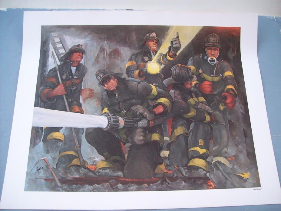 NOS John Goss 1962-1994 Firefighter & Artist All Hands Art Print Engine 35 FDNY