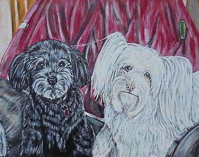 11x14 custom pet portrait painting dog cat rabbit bird horse lizard ferret art
