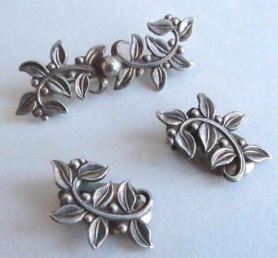 Fine subtle Leaf & berry AOJ Norway Danish Scandinavian sterling earrings pin