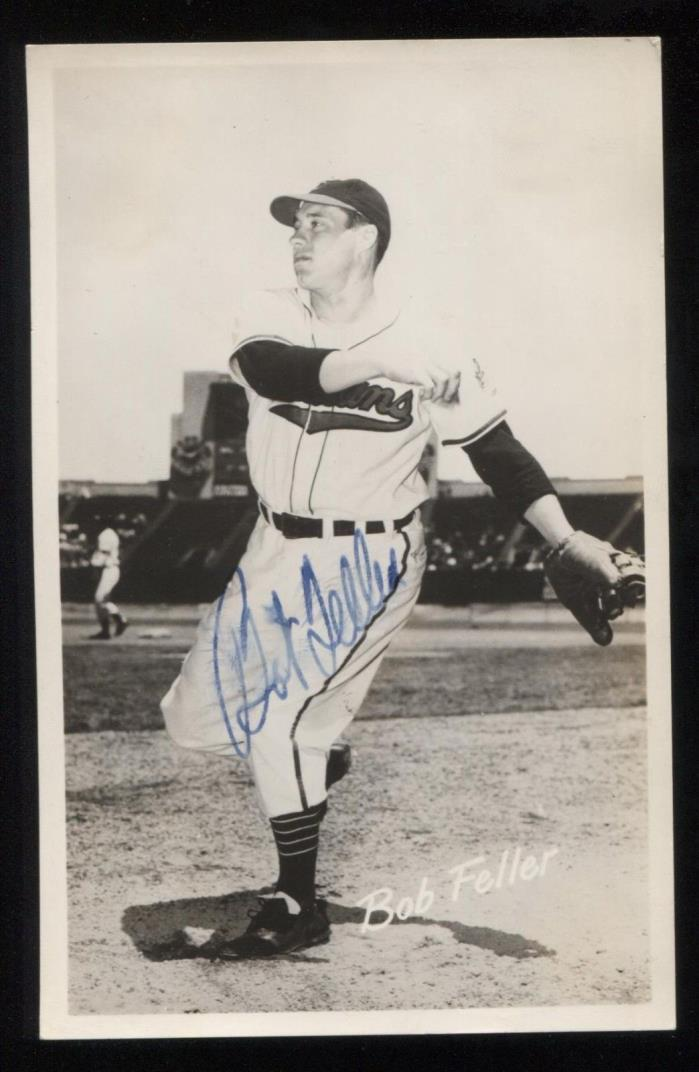 Bob Feller Vintage Signed Photo Post Card Autographed in 1951 Baseball