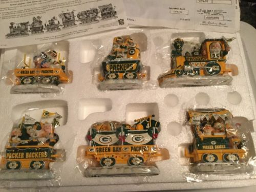 DANBURY MINT GREEN BAY PACKERS 6 PIECE TRAIN SET CHRISTMAS EXPRESS COMPLETE 2000
