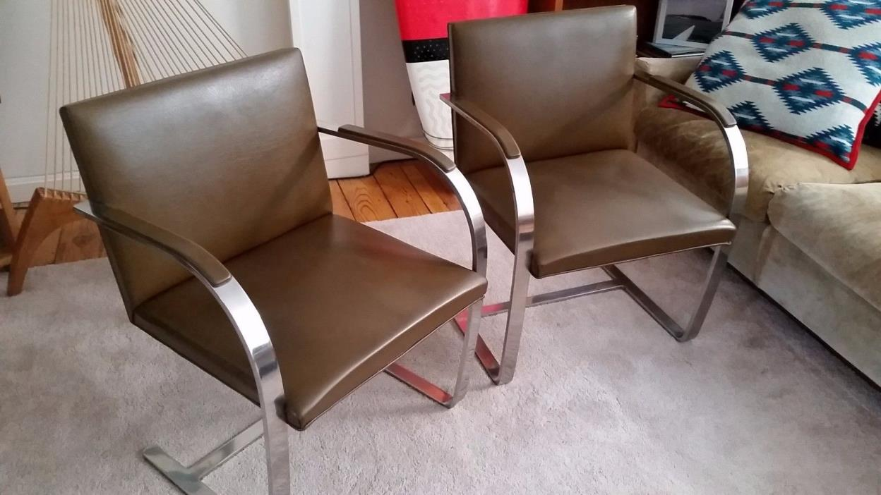 Brno Leather Arm Chairs, Mies Van Der Rohe, $470 each