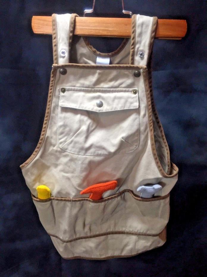 Baby Gap Overalls Tan Tools Belt Carpenter APRON Kids 12-18 Months Cute ART Vest