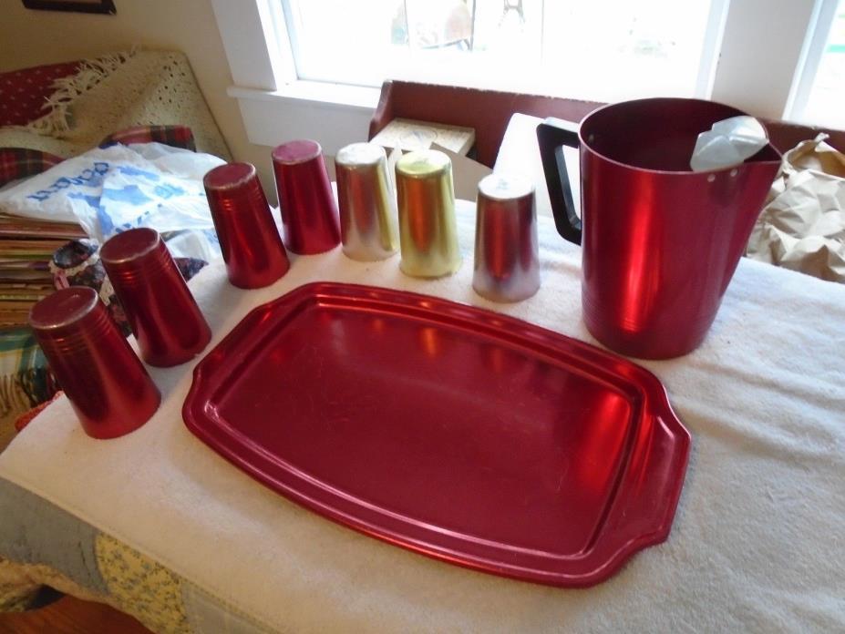 Vintage Retro Mid century modern  Aluminum Regal Pitcher & tray plus glasses