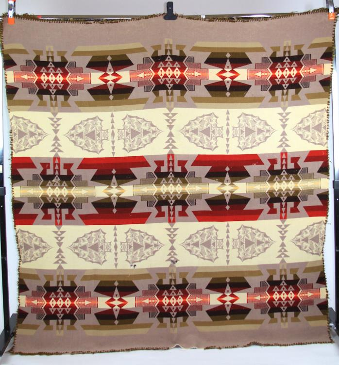 Nine Element Arrowhead Blanket Shawl c.1920's, attributed Pendleton, Ecru/Tan