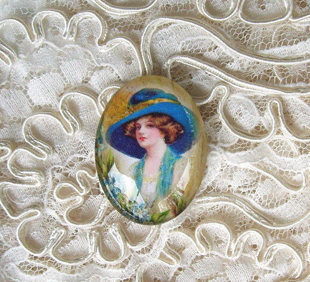 Vintage Big Hat Lady 30X40mm Glitter Unset Handmade Art Bubble Cameo Cabochon