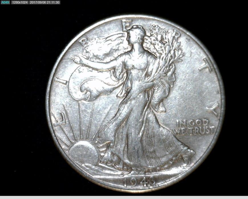 1943  Silver Walking Liberty Half Dollar #A278