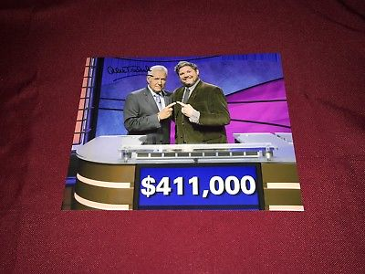 ALEX TREBEK AUSTIN ROGERS SIGNED 8X10 PHOTO JEOPARDY RP