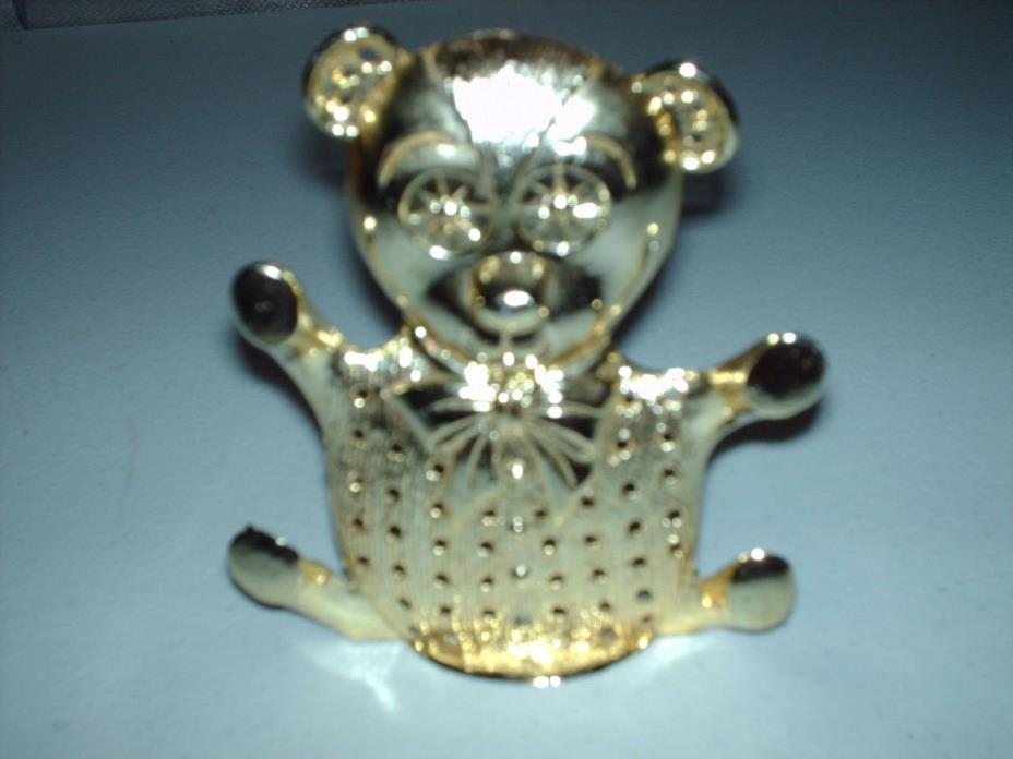 Vintage Torino Teddy Bear Earring Holder Gold Tone Metal - 4 3/4