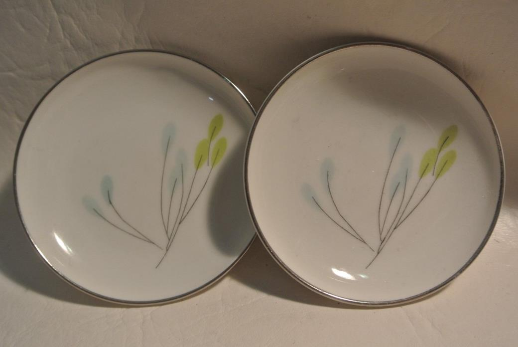 2 Symphony Butter Pats / with Silver Trim Bavaria Germany