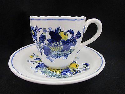 COPELAND SPODE Blue Bird Demitasse Espresso Cup & Saucer, Blue & Yellow