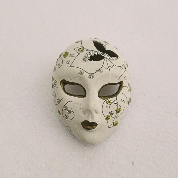 Vintage capodimonte  ceramic  lady face mask with crystal diamante - brooch