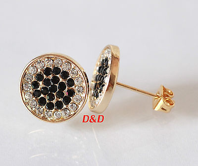 13mm Mens 18k Gold Filled Real Silver Cubic Zirconia Earrings Studs