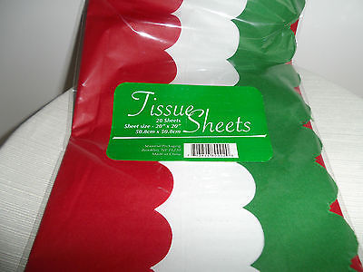 GIFT TISSUE PAPER-SCALLOPED EDGE-20 SHEETS-NEW - Tri-Color