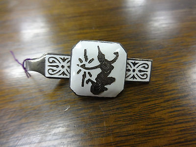 Siam Sterling Silver .925 White Enamel Tie Clip Small Square Center 1 7/8