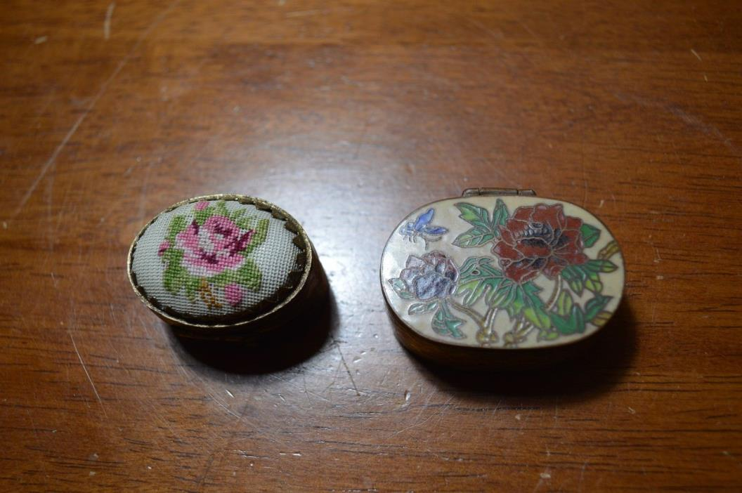 Antique Lot 2 Chinese Cloisonné & Micro NeedlePoint Hinged Ovular Pill Snuff Box
