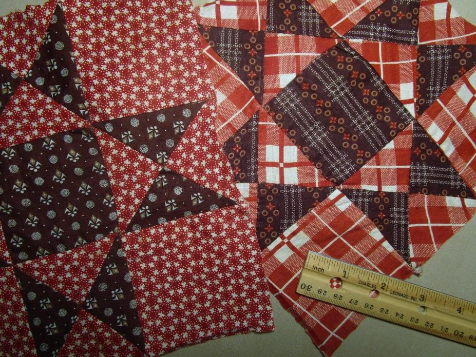 Antique Quilt Blocks 1800's Hand sewn 2 pcs 8
