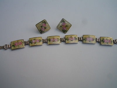 Vintage  sterling yellow guilloche  bracelet and earrings