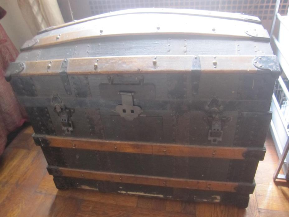 Antique Steamer Trunk/ Chest Storage Steampunk Victorian Decor