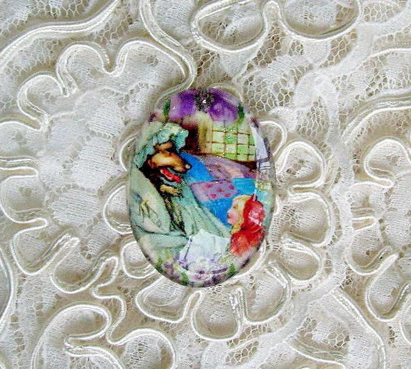 Red Riding Hood & Wolf 30X40mm Glitter Unset Handmade Art Bubble Cameo Cabochon