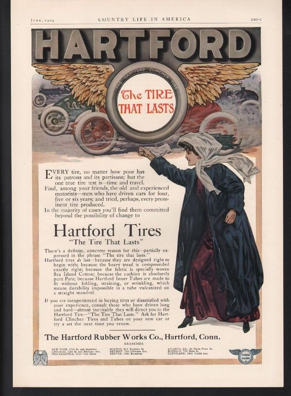 1909 HARTFORD TIRE CAR AUTO MEMORABILIA RUBBER RACE MOTOR ENGINE SPORT 22552