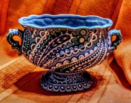 Mid-Century RELPO 5883 Moriage Turquoise Ocean Blue Ceramic Florists Planter