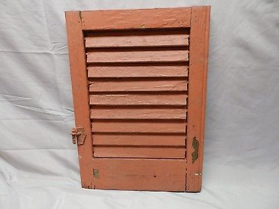 Antique House Window Wood Louvered Shutter Shabby Old Vtg Chic 22x16 66-18P