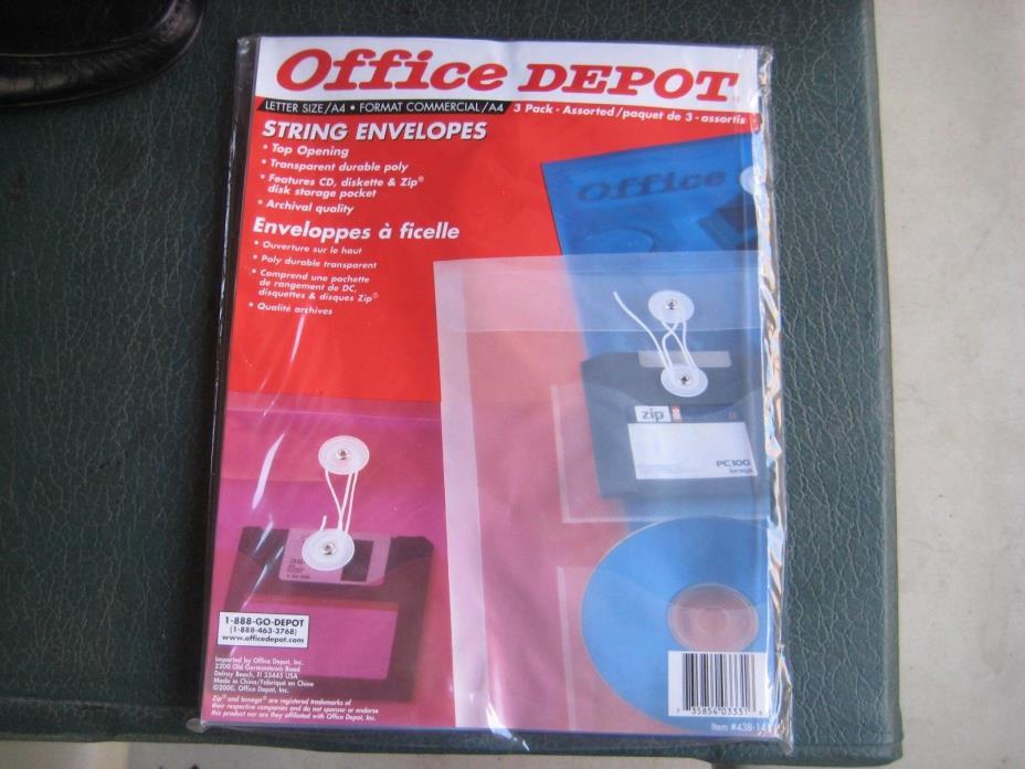 OFFICE DEPO STRING ENVELOPES MULTI COLOR Poly Envelopes with CD,DISKETTE pocket