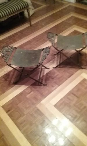 ANTIQUE Pair of FRENCH EMPIRE X-Benches/Tabourets