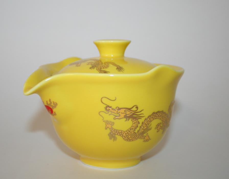 Golden Dragon Individual TEAPOT w/ INFUSER & LID Very nice!