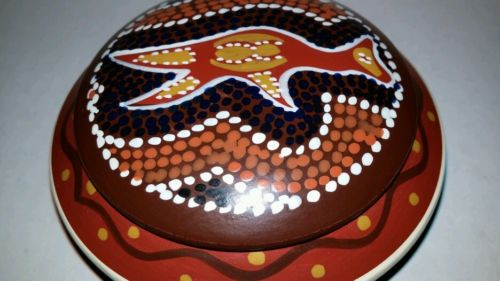 Round Ceramic  Box with removable Lid. Abstract design.The box has a Australian
