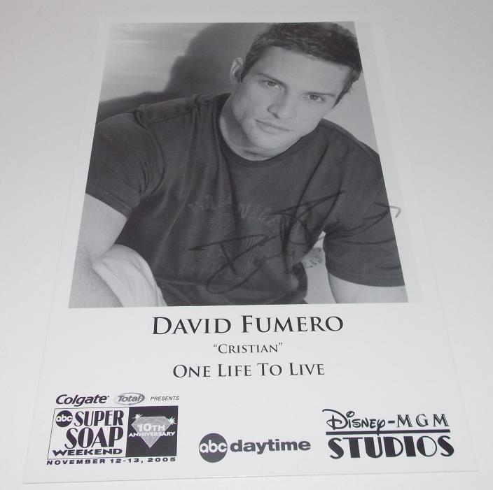 David Fumero Autograph Reprint Photo 9x6 One Life to Live 2005 Power