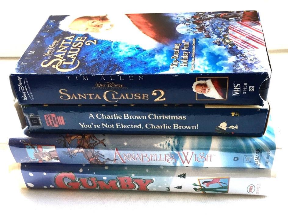Lot 4 VHS Christmas Movies Clamshell & Sleeves Holiday Walt Disney Hallmark