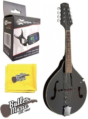 Stagg Model M20 BLK A Style Bluegrass Mandolin with Effin Clip on Tuner Bundle