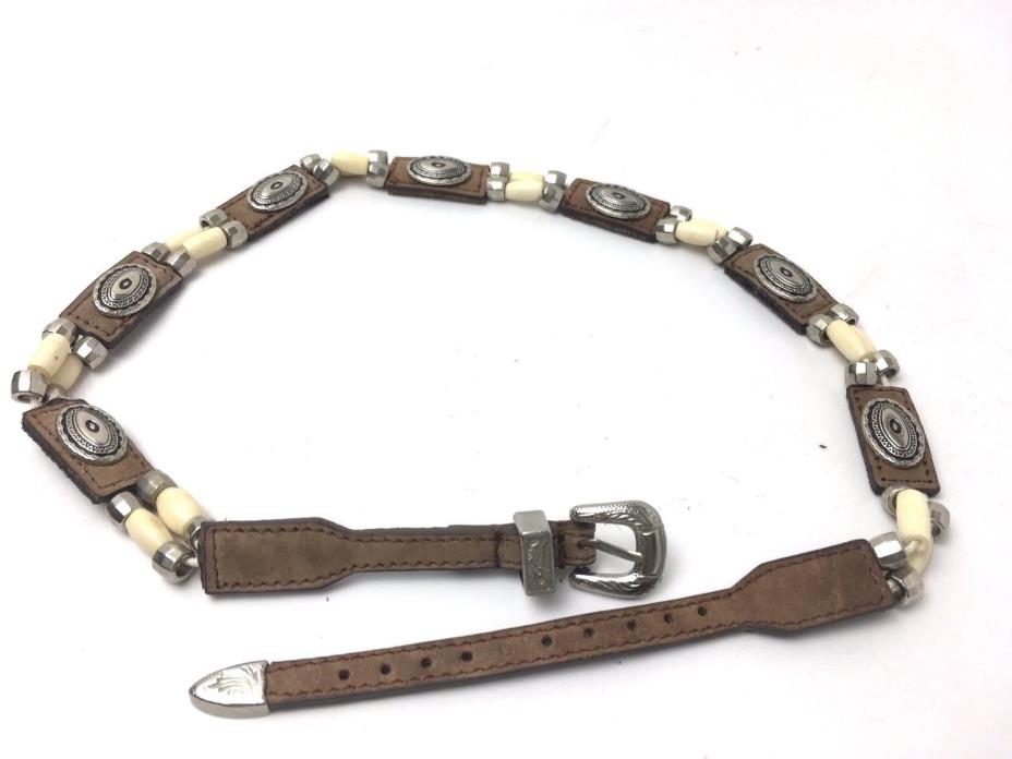 Children's Youth Girls Country Leather Belt with Beads (24