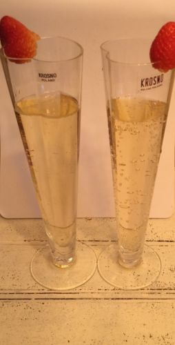 Krosno Poland Heart Shaped Champagne Toasting Flutes set of 2